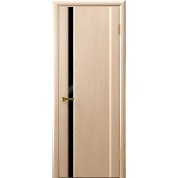 Межкомнатная дверь СИНАЙ 1 (белый дуб, стекло черное) черное, беленый дуб (Товар № ZF191113)