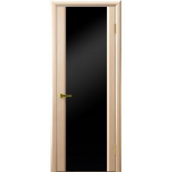 Межкомнатная дверь СИНАЙ 3 (белый дуб, стекло черное) черное, беленый дуб (Товар № ZF191118)