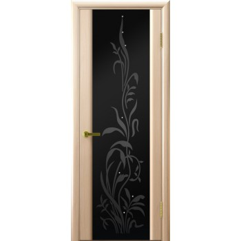 Межкомнатная дверь Трава 2 (Беленый дуб, стекло) со стеклом, беленый дуб (Товар № ZF191140)