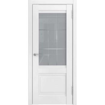 Межкомнатная дверь U-52 (винил, белый, стекло) со стеклом, белый (Товар № ZF191146)