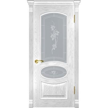 Межкомнатная дверь Грация (ДО дуб белая эмаль) со стеклом, дуб белая эмаль (Товар № ZF190978)