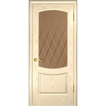 Межкомнатная дверь Лаура 2 (Дуб слоновая кость , стекло) со стеклом, слоновая кость (Товар № ZF190997)
