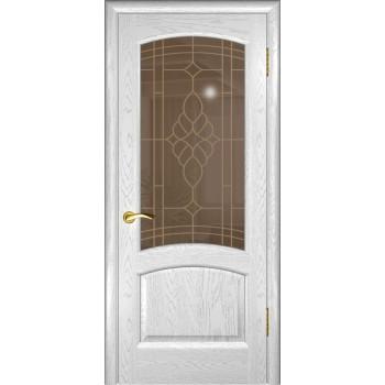 Межкомнатная дверь Лаура (дуб белая эмаль, стекло) со стеклом, дуб белая эмаль (Товар № ZF191005)