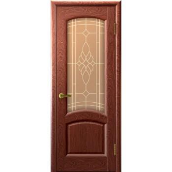 Межкомнатная дверь Лаура (красное дерево, стекло) со стеклом, красное дерево (Товар № ZF191007)