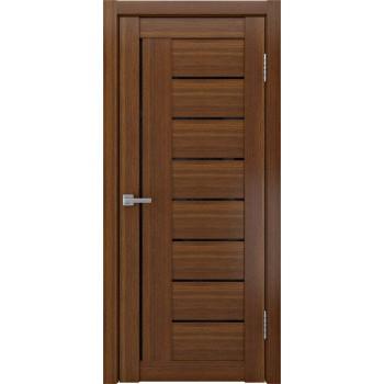 Межкомнатная дверь ЛУ-17 лакобель черный (темный орех) со стеклом, тёмный орех (Товар № ZF191024)