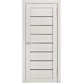 Межкомнатная дверь ЛУ-7 (Беленый дуб черное стекло) беленый дуб (экошпон) (Товар № ZF191061)