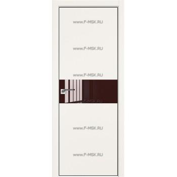 Модель 4E / Цвет ДаркВайт / Стекло Lacobel Коричневый лак / Кромка Black Edition с 4-х сторон