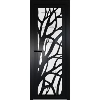 Модель 1 AGP / Стекло Белый триплекс / Вставка Рисунок 2 / Цвет профиля Черный матовый RAL9005