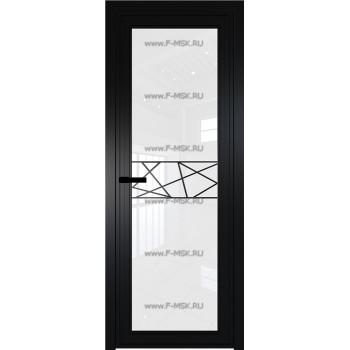 Модель 1 AGP / Стекло Белый триплекс / Вставка Рисунок 1 / Цвет профиля Черный матовый RAL9005