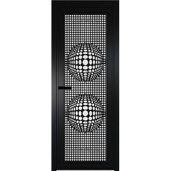 Модель 1 AGP / Стекло Белый триплекс / Вставка Рисунок 3 / Цвет профиля Черный матовый RAL9005