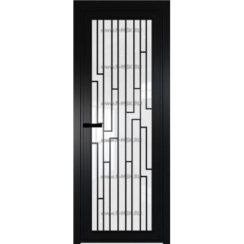 Модель 1 AGP / Стекло Белый триплекс / Вставка Рисунок 5 / Цвет профиля Черный матовый RAL9005