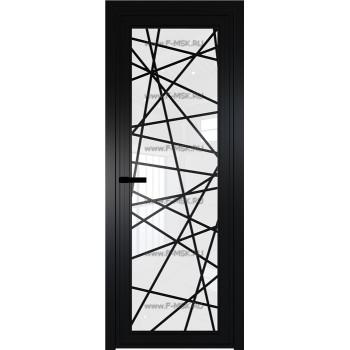 Модель 1 AGP / Стекло Белый триплекс / Вставка Рисунок 4 / Цвет профиля Черный матовый RAL9005
