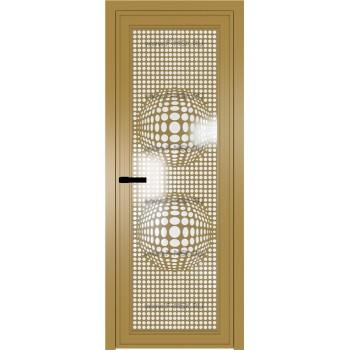 Модель 1 AGP / Стекло Белый триплекс / Вставка Рисунок 3 / Цвет профиля Золото