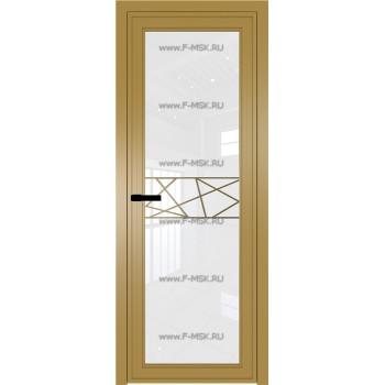 Модель 1 AGP / Стекло Белый триплекс / Вставка Рисунок 1 / Цвет профиля Золото