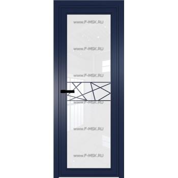 Модель 1 AGP / Стекло Белый триплекс / Вставка Рисунок 1 / Цвет профиля Cиний матовый RAL5003