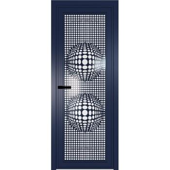 Модель 1 AGP / Стекло Белый триплекс / Вставка Рисунок 3 / Цвет профиля Cиний матовый RAL5003