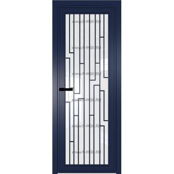 Модель 1 AGP / Стекло Белый триплекс / Вставка Рисунок 5 / Цвет профиля Cиний матовый RAL5003