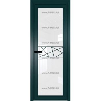 Модель 1 AGP / Стекло Белый триплекс / Вставка Рисунок 1 / Цвет профиля Зеленый матовый RAL6004