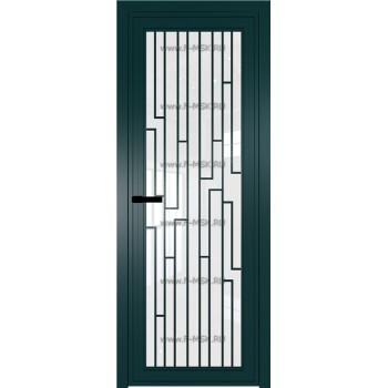 Модель 1 AGP / Стекло Белый триплекс / Вставка Рисунок 5 / Цвет профиля Зеленый матовый RAL6004