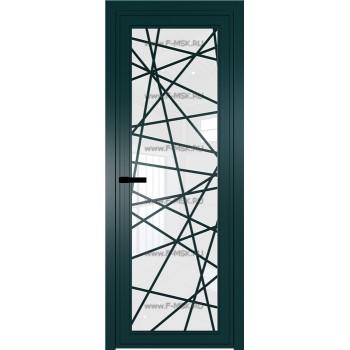 Модель 1 AGP / Стекло Белый триплекс / Вставка Рисунок 4 / Цвет профиля Зеленый матовый RAL6004