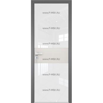 Модель 5 AGK / Стекло Lacobel Белый лак / Окрас стекла Без окраса стекла / Вставка ДаркВайт / Кромка Матовая алюминиевая
