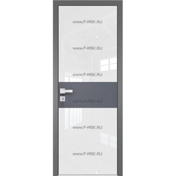 Модель 5 AGK / Стекло Lacobel Белый лак / Окрас стекла Без окраса стекла / Вставка Антрацит / Кромка Матовая алюминиевая