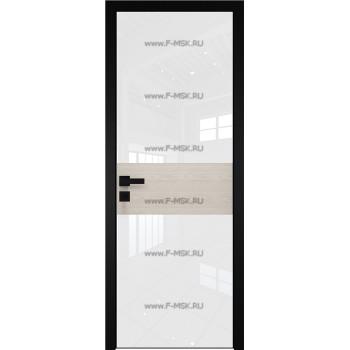Модель 5 AGK / Стекло Lacobel Белый лак / Окрас стекла Без окраса стекла / Вставка Дуб SKY Белёный / Кромка Black Edition