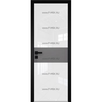 Модель 5 AGK / Стекло Lacobel Белый лак / Окрас стекла Без окраса стекла / Вставка Грей / Кромка Black Edition