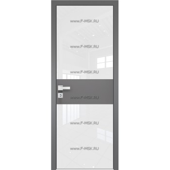 Модель 5 AGK / Стекло Lacobel Белый лак / Окрас стекла Без окраса стекла / Вставка Грей / Кромка Матовая алюминиевая