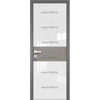 Модель 5 AGK / Стекло Lacobel Белый лак / Окрас стекла Без окраса стекла / Вставка Дуб SKY Denim / Кромка Матовая алюминиевая