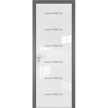 Модель 5 AGK / Стекло Lacobel Белый лак / Окрас стекла Без окраса стекла / Вставка Белый матовый / Кромка Матовая алюминиевая