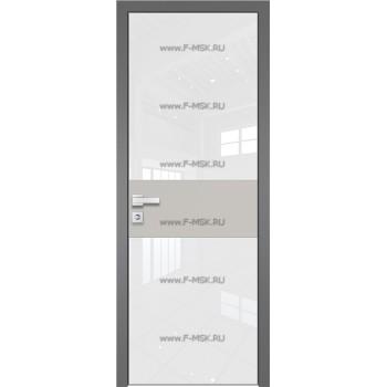 Модель 5 AGK / Стекло Lacobel Белый лак / Окрас стекла Без окраса стекла / Вставка Галька матовый / Кромка Матовая алюминиевая