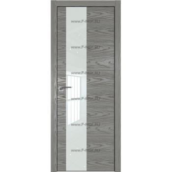 Модель 5NK / Цвет Дуб SKY Denim / Стекло Lacobel Белый лак / Кромка Black Edition с 4-х сторон