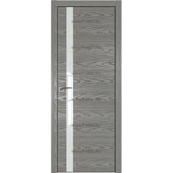 Модель 6NK / Цвет Дуб SKY Denim / Стекло Lacobel Белый лак / Кромка Black Edition с 4-х сторон