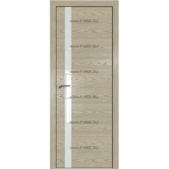 Модель 6NK / Цвет Дуб SKY Крем / Стекло Lacobel Белый лак / Кромка Black Edition с 4-х сторон