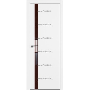 Модель 6SMK / Цвет Белый матовый / Декоративная вставка Lacobel Коричневый лак / Кромка Black Edition с 4-х сторон