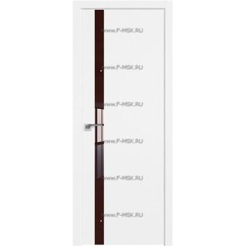 Модель 6SMK / Цвет Белый матовый / Декоративная вставка Lacobel Коричневый лак / Кромка ABS в цвет