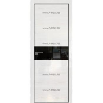 Модель 4STK / Цвет Pine White glossy / Стекло Lacobel Черный лак / Кромка Black Edition с 4-х сторон