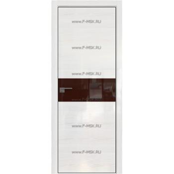 Модель 4STK / Цвет Pine White glossy / Стекло Lacobel Коричневый лак / Кромка Black Edition с 4-х сторон